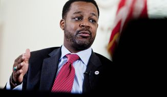 D.C. Council Chairman Kwame R. Brown likened the new Department of General Services to a multimillion-dolar company with council as its board of directors. (T.J. Kirkpatrick/The Washington Times)