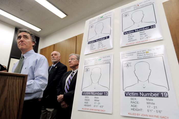 Cook County, Ill., Sheriff Tom Dart addresses a press conference in Chicago on Wednesday about the renewed effort to identify eight long-unidentified victims of serial killer John Wayne Gacy. (Associated Press)