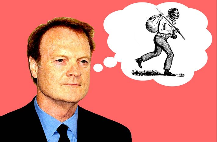 Illustration: Lawrence O'Donnell by Alexander Hunter for The Washington Times
