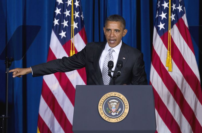 President Obama speaks Oct. 12, 2011, at the White House Forum on American Latino Heritage at the Interior Department in Washington. (Associated Press)