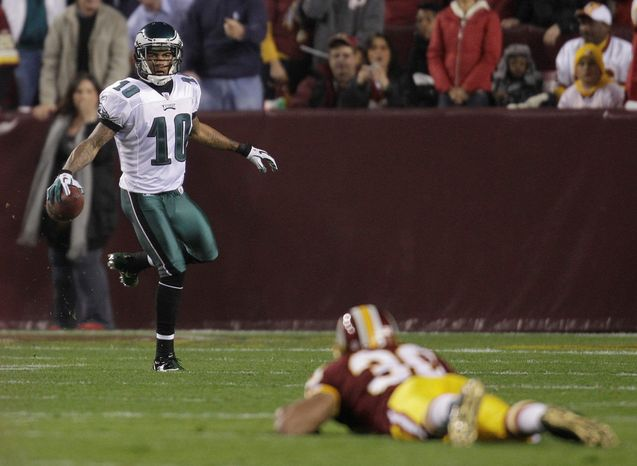 Eagles wide receiver DeSean Jackson celebrated after scoring a touchdown as Redskins safety LaRon Landry could only watch during Philadelphia's 59-28 Monday night win last N