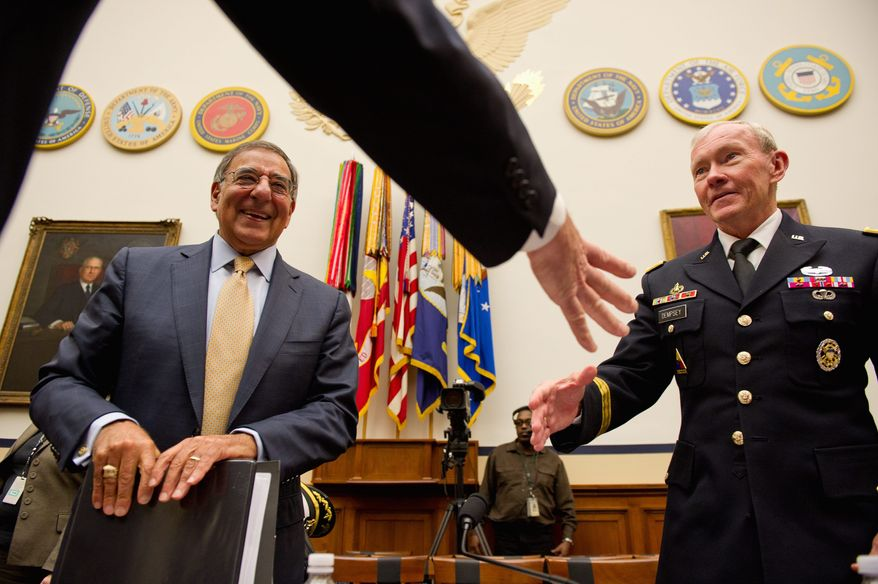 Secretary of Defense Leon E. Panetta and Chairman of the Joint Chiefs of Staff Gen. Martin E. Dempsey, in testifying to a House defense panel Thursday, voice their concerns about mandatory military cuts that may result from deficit-reduction problems. (Andrew Harnik/The Washington Times)