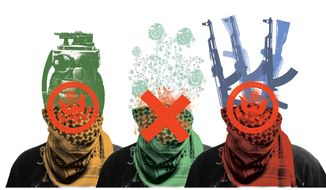 Illustration: Terrorist by Linas Garsys for The Washington Times