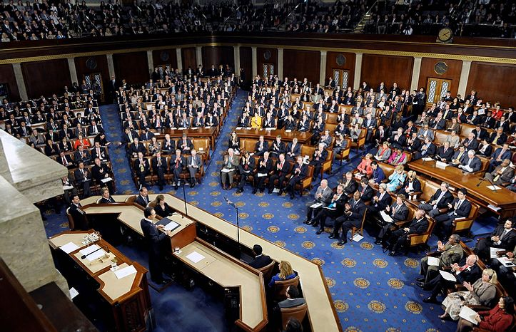 South Korean President Lee Myung-bak addresses a joint session of Congress on Capitol Hill in Washington, Thursday, Oct. 13, 2011. (AP Photo/Cliff Owen)