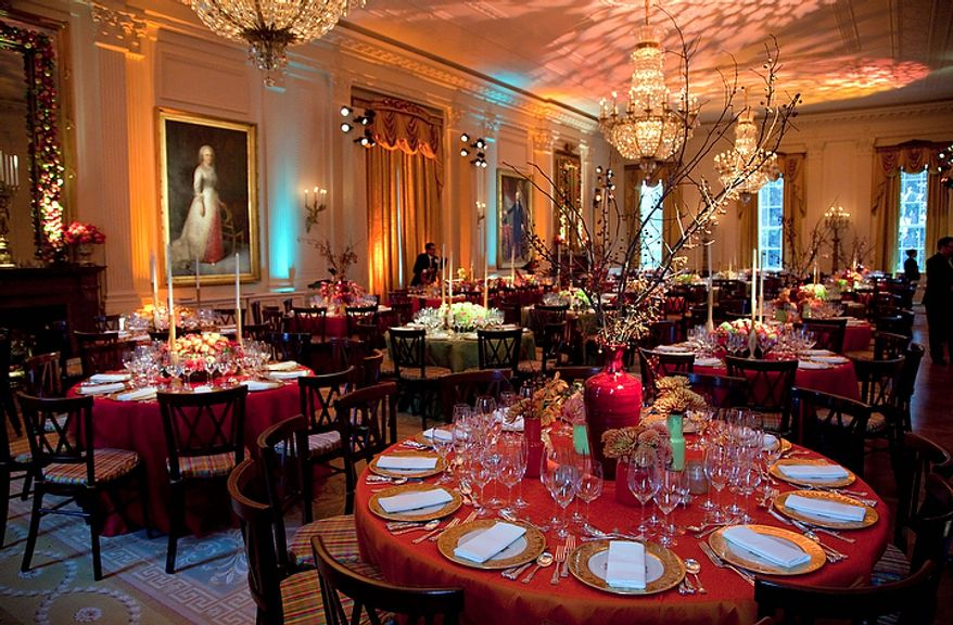 A view of the East Room of White House where President Barack Obama and first lady Michelle Obama are hosting a state dinner for South Korean President Lee Myung-bak on Thursday, Oct. 13, 2011, in Washington.  (AP Photo/Evan Vucci)