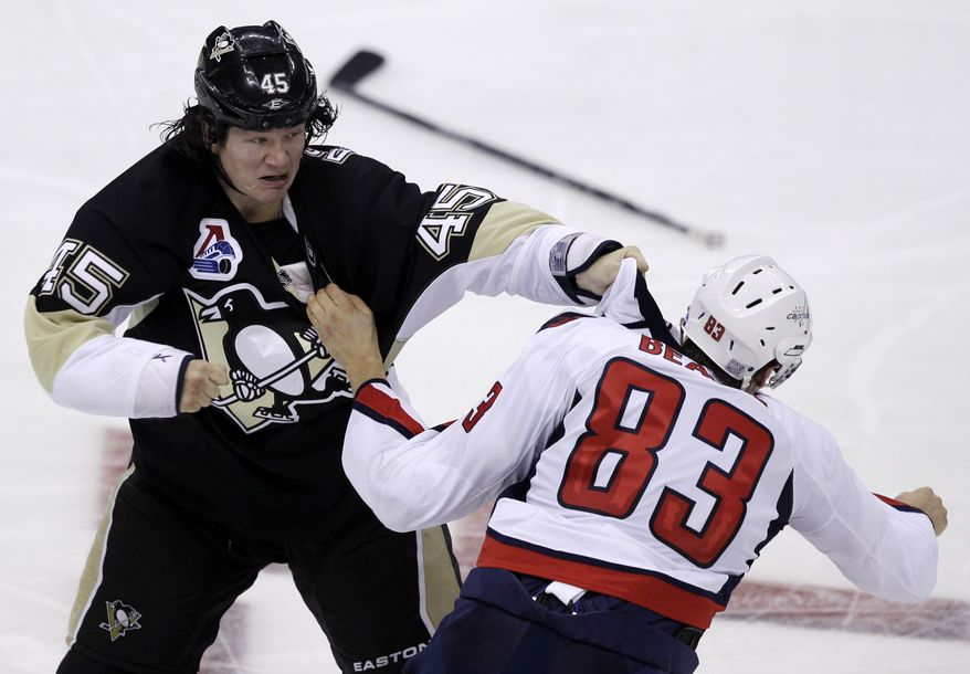 Washington Capitals forward Jay Beagle received a concussion in a fight with the Pittsburgh Penguins' Aaron Asham on Oct. 13. He skated three weeks ago, but then was shut down. Saturday, he returned to the ice. (Associated Press)