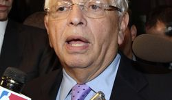 NBA Commissioner David Stern talks with reporters, Monday, Oct. 10, 2011, in New York. Stern canceled the first two weeks of the season after players and owners were unable to reach a new labor deal to end the lockout. Opening night was scheduled for Nov. 1. (AP Photo/David Karp)
