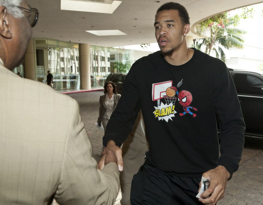 Washington Wizards forward JaVale McGee arrives for an NBA basketball players union meeting on labor negotiations with the NBA league Friday, Oct. 14, 2011, in Beverly Hills, Calif. (AP Photo/Damian Dovarganes)