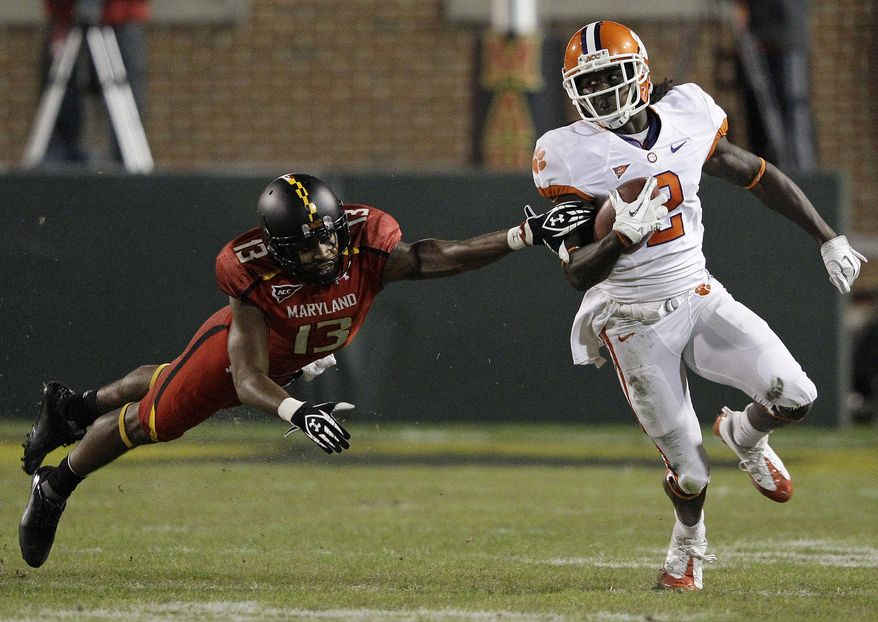 Clemson wide receiver Sammy Watkins had two receiving touchdowns and one return touchdown against the Terps on Saturday. In total, he had 312 yards. (AP Photo/Patrick Semansky)