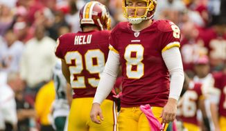 Redskins quarterback Rex Grossman has thrown nine interceptions in five games, tying him for most in the league with Carolina rookie Cam Newton. Washington visits Carolina on Sunday. (Rod Lamkey Jr./The Washington Times)