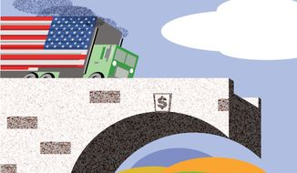 Illustration: Infrastructure by Alexander Hunter for The Washington Times