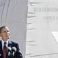 President Obama speaks at the dedication of the Martin Luther King Jr. Memorial on the Mall on Sunday. The president said that King's achievements did not come easily or swiftly, but added that the civil rights leader persevered and prevailed. (Associated Press)