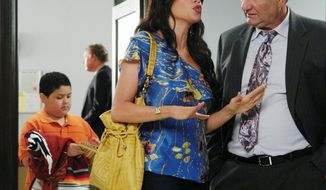 "Rico Rodriguez, Sofia Vergara and Ed O'Neill (from left) are shown in a scene from ""Modern Family."" The ABC show does well among digital video recorder-equipped viewers who watch the episodes after they air. (ABC via Associated Press)"
