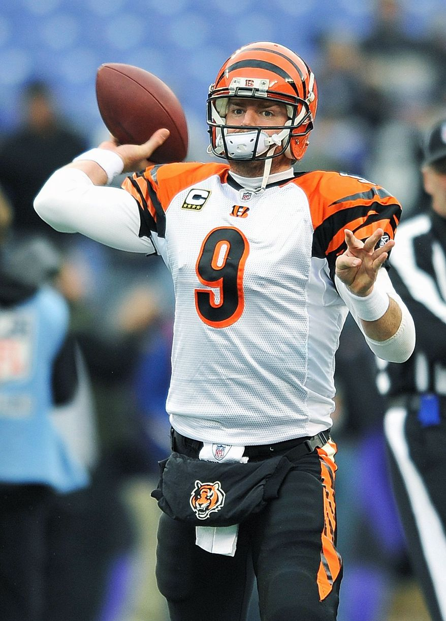 Carson Palmer's best season was in 2005, when he passed for 3,836 yards anbd 32 touchdowns in leading Cincinnati to the AFC North title. (Associated Press)