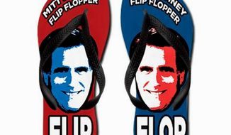 "Political indicators? ""Flip flops"" are the most popular Mitt Romney merchandise at online retailer Cafe Press, while positive-theme Herman Cain wearables are best-sellers. (Cafe Press)"