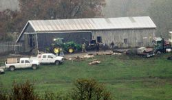 Investigators walk around a barn as animal carcasses lay on the ground at the Muskingum County Animal Farm in Zanesville, Ohio. Eighteeen rare Bengal tigers were among the nearly 50 animals killed by sheriff's deputies. Six animals were captured alive and taken to the Columbus Zoo. (Associated Press)
