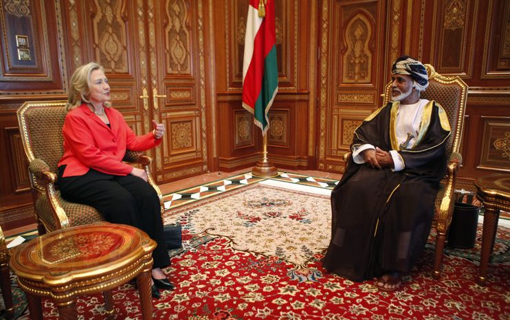 U.S. Secretary of State Hillary Rodham Clinton talks with Sultan Qaboos bin Sa'id at the sultan's palace in Muscat, Oman, on Wednesday, Oct. 19, 2011. Mrs. Clinton personally thanked the sultan for his help in securing the release of three American hikers detained in Iran. She later arriv
