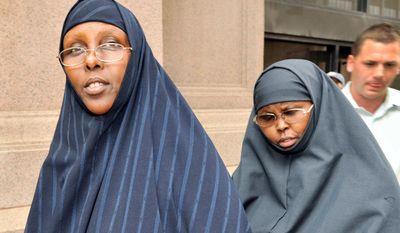 Hawo Mohamed Hassan (left) and Amina Farah Ali were convicted Thursday of conspiring to funnel money to a terrorist group in Somalia. The Minnesota women are both U.S. citizens of Somali descent. (Associated Press)