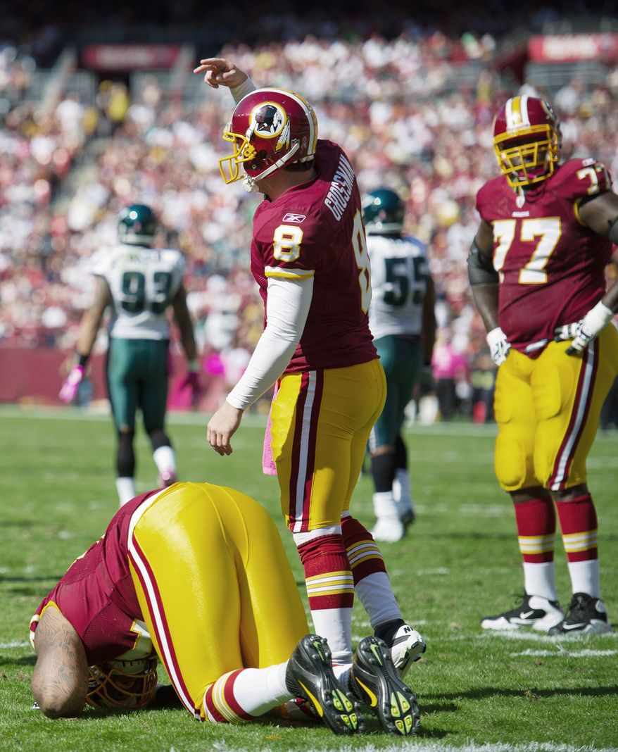 Starting left tackle Trent Williams went down with a high right ankle sprain against Philadelphia on Oct. 16, and the offensive line has been in disarray ever since. (Andrew Harnik/The Washington Times)
