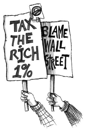 Illustration: Occupy Wall Street by John Camejo for The Washington Times