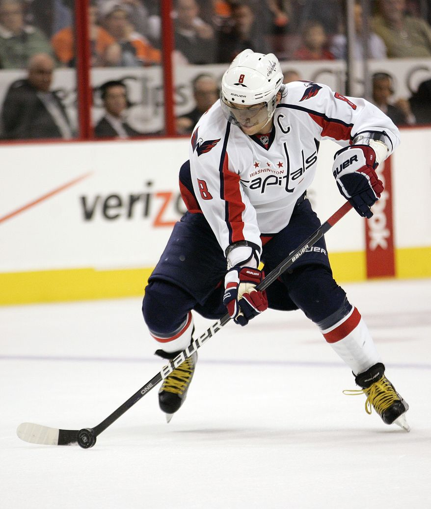 Washington Capitals' Alexander Ovechkin had two goals and was a plus-one against the Philadelphia Flyers on Thursday. (AP Photo/Tom Mihalek)