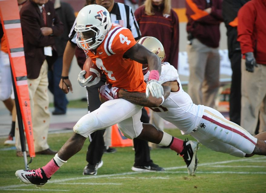 Virginia Tech running back David Wilson had 134 yards and a touchdown on 17 carries in Tech's win over Boston College on Sunday. (AP Photo/Don Petersen)