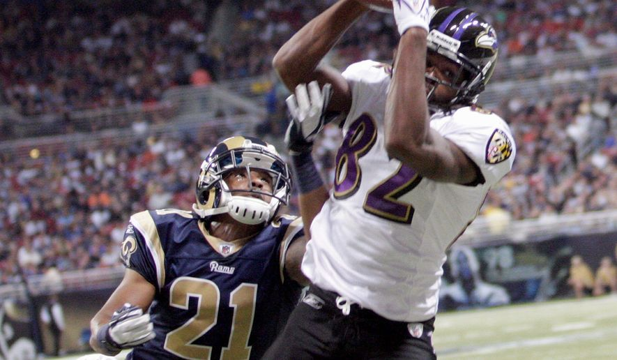 Baltimore rookie Torrey Smith broke out during a 37-7 win over St. Louis on Sept. 25, catching five passes for 152 yards and three touchdowns. (Associated Press)