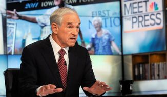 "Rep. Ron Paul, Texas Republican, said on NBC's ""Meet the Press"" Sunday that he wants to end federal student loans, calling it a failed program that has put students in debt when there are no jobs and when the quality of education has deteriorated. As president, he said he would eliminate five federal agencies. (NBC via Associated Press)"