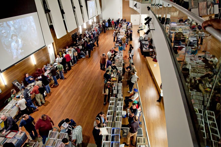 """""""For me, it's having something to hold. It's artistic, there's some historical element,"""" said Kevin Coombe, co-organizer of the D.C. Record Fair. """"And that's just cool."""" (Pratik Shah/The Washington Times)"""