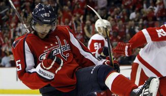 Washington Capitals center Mathieu Perreault is looking for more playing time after seeing limited shifts through the first two games. (AP Photo/Ann Heisenfelt)