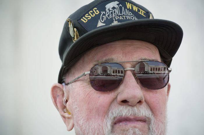 Among those attending was Richard Swanson of Mead, Neb., a Coast Guard storekeeper when he helped to rescue some of the men from the sinking Army troopship Dorchester on Feb. 3, 1943, off the coast of Greenland. (Rod Lamkey Jr./The Washington Times)