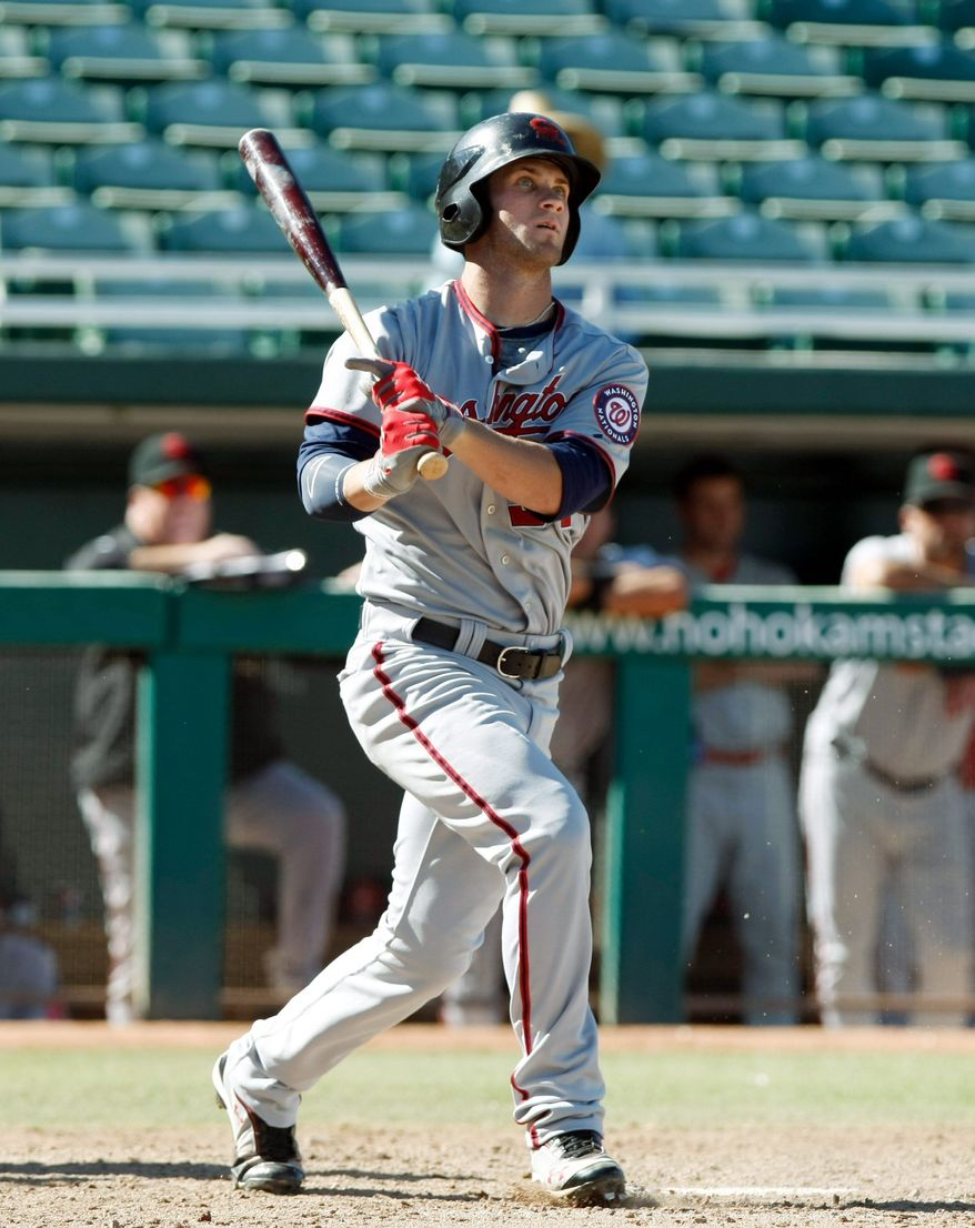 Scottsdale Scorpions right fielder Bryce Harper in the second inning during a Fall League baseball game against the Mesa Solar Sox on Tuesday, Oct. 11, 2011, in Mesa. (Rick Scuteri/Special to The Washington Times)
