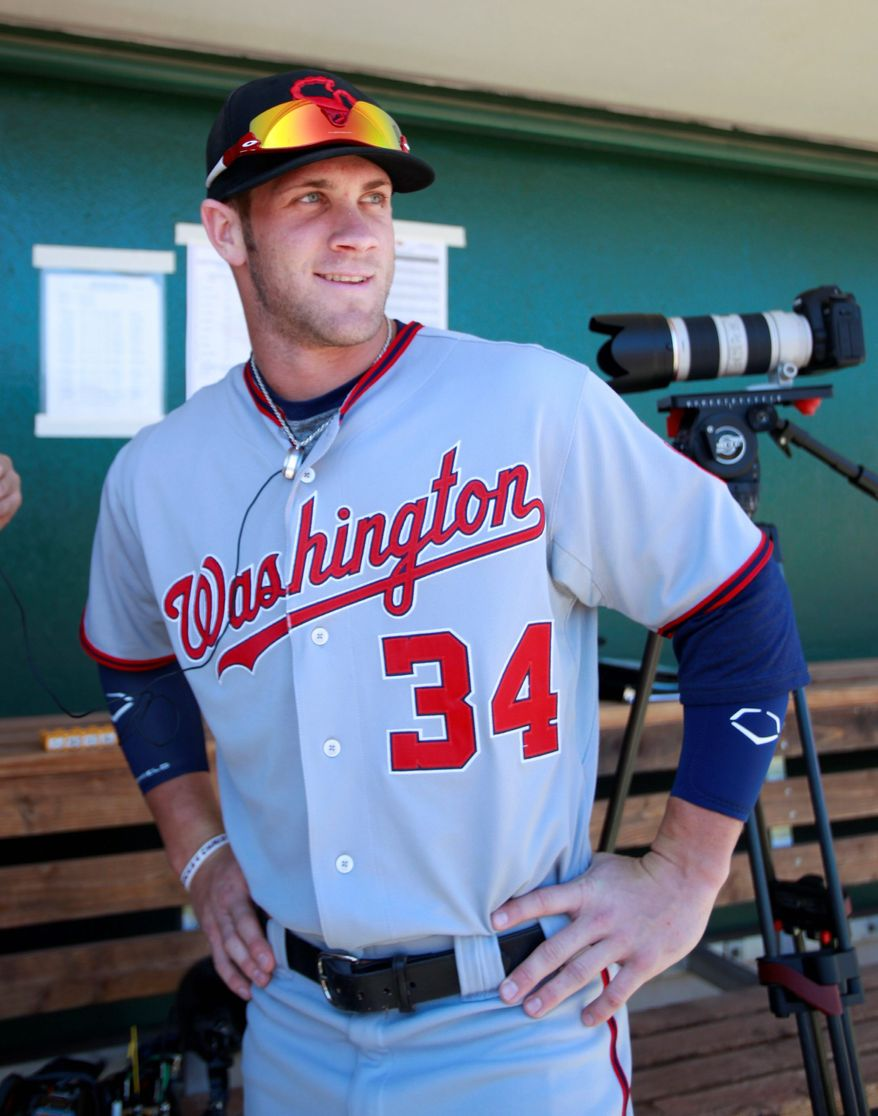 Bryce Harper was batting just .214 (9-for-42)  with one home run and six RBI in the Arizona  Fall League heading into Monday night's games. (Rick Scuteri/Special to The Washington Times)