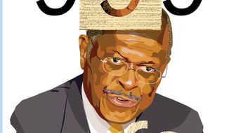 Illustration: Cain 999 by Greg Groesch for The Washington Times