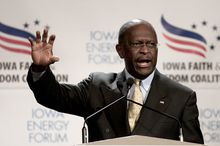 **FILE** Republican presidential candidate Herman Cain speaks at the Iowa Faith and Freedom Coalition presidential candidate forum in Des Moines, Iowa, on Oct. 22, 2011. (Associated Press)