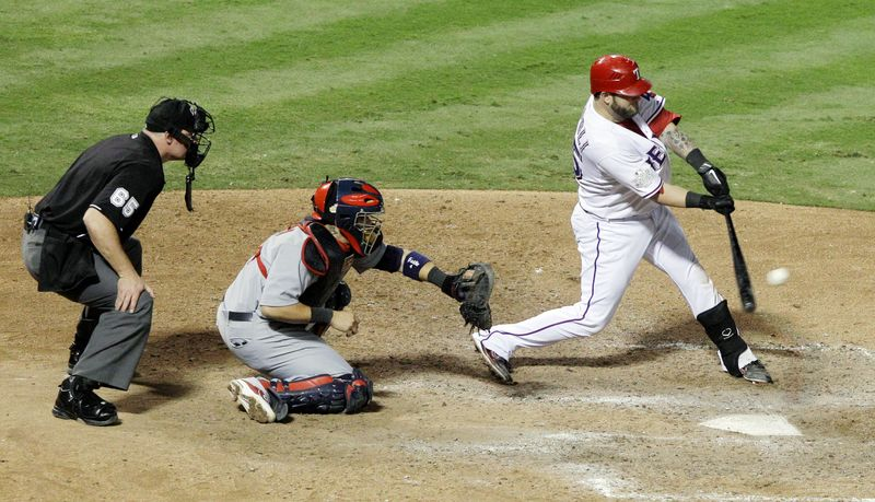 Texas catcher Mike Napoli's tiebreaking, two-run double in the eighth inning of Game 5 on Monday night gave him a World Series-best nine RBI. (As