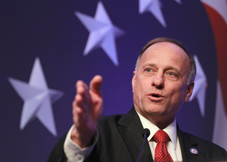 """Rep. Steve King, one of the most fiery opponents of President Obama's """"executive amnesty"""" for illegal immigrants, backed away from his previous calls for impeachment. """"I don't want to do the 'I' word. Nobody wants to throw the nation into that kind of turmoil,"""" the Iowa Republican told CNN immediately following Mr. Obama's executive action. (Associated Press)"""