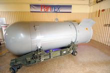 The United States' last B53 nuclear bomb is being dismantled on Tuesday, Oct. 25, 2011, at the Pantex Plant just outside Amarillo, Texas. (AP Photo/National Nuclear Security Administration)
