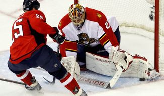 Florida Panthers goalie Jacob Markstrom, right, of Sweden stops a shot by Washington Capitals left wing Jason Chimera (25) during the second period of an NHL hockey game in Washington, Tuesday, Oct. 18, 2011. The Capitals won 3-0. (AP Photo/Ann Heisenfelt)
