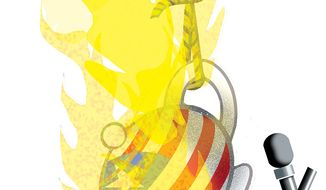 Illustration: Tea Party neck tie by Alexander Hunter for The Washington Times