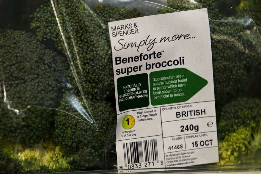 In this photo taken Wednesday, Oct. 12, 2011, a pack of Beneforte super broccoli is shown at a branch of Marks & Spencer in London. The new variety was bred to contain two to three times the normal amount of glucoraphanin, a nutrient believed to help ward off heart disease. (AP Photo/Matt Dunham)