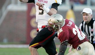 Maryland quarterback Danny O'Brien returned  to action against Florida State last Saturday after being benched. O'Brien started the first five games, and it remains to be seen if he'll split time with C.J. Brown as the Terps try to become bowl eligible. (Associated Press)