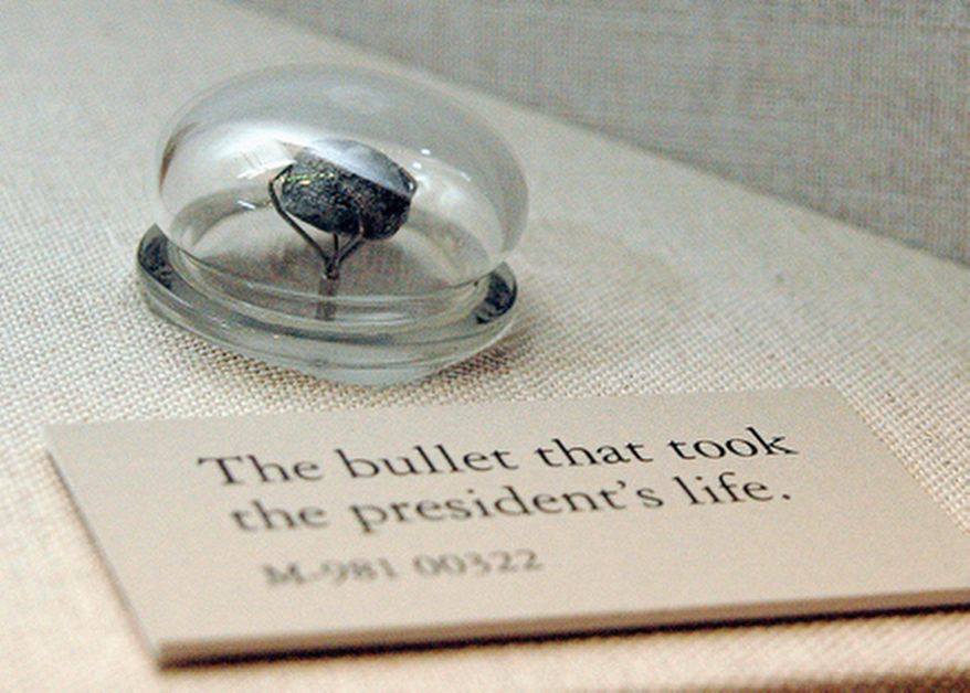 """The bullet that killed President Lincoln from the exhibit """"Visibly Human: Health and Disease in the Human Body"""" at the National Museum of Health and Medicine. (National Museum of Health and Medicine)"""