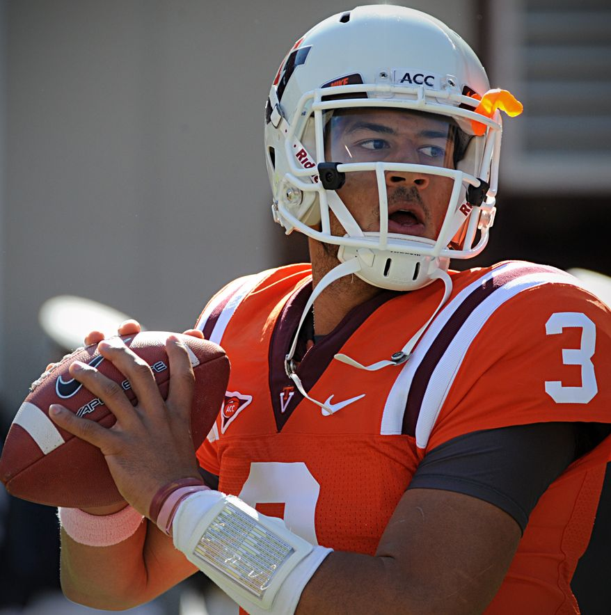 Virginia Tech quarterback Logan Thomas has thrown for 1744 yards and 10 touchdowns and rushed for six more so far this season. (AP Photo/Don Petersen)