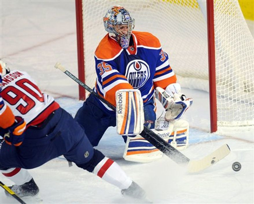 Nikolai Khabibulin made 34 saves Thursday night to hand the Caps their first loss. (AP Photo/The Canadian Press, Ian Jackson)
