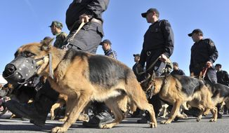 Kyrgyz Interior Ministry special force soldiers with their dogs march on Oct. 25, 2011, during a rehearsal ahead of presidential elections in Bishkek. Kyrgyzstan's presidential elections are scheduled for Oct. 30. (Associated Press)