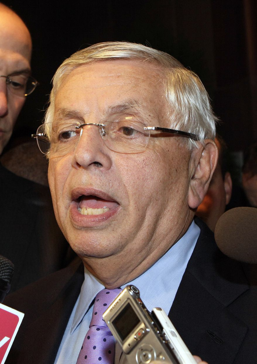 NBA Commissioner David Stern talks with reporters, Monday, Oct. 10, 2011, in New York. Stern canceled all November games Friday, the 120th day of the NBA lockout. (AP Photo/David Karp)