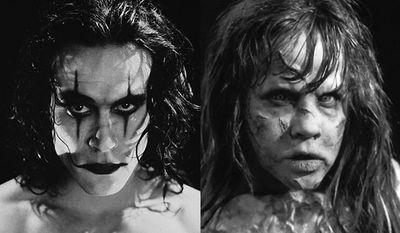 """Brandon Lee in """"The Crow"""" and Linda Blair in """"The Exorcist."""" (Crow image courtesy of Lionsgate Home Entertainment, Exorcist image courtesy of Warner Home Video)"""