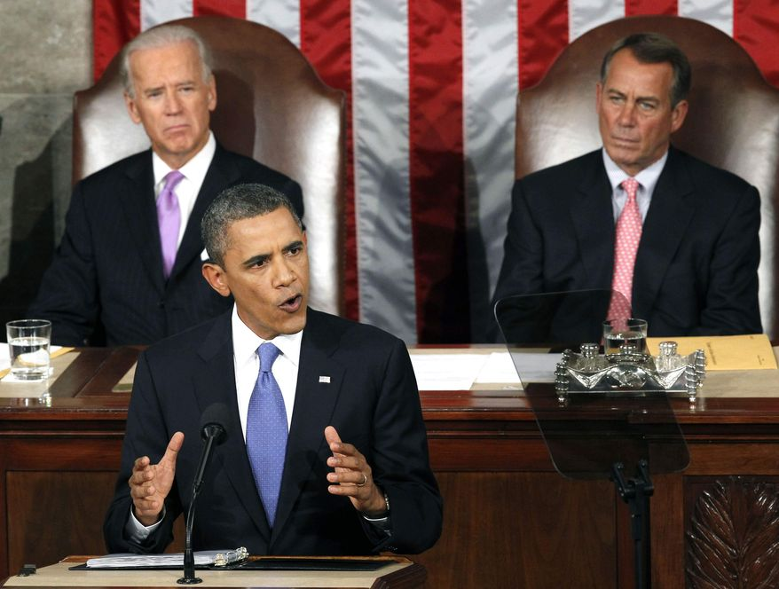 ** FILE ** In this Sept. 8, 2011, file photo President Barack Obama speaks to a joint session of Congress at the Capitol in Washington, as Vice President Joe Biden and House Speaker John Boehner listen. (AP Photo/Charles Dharapak)