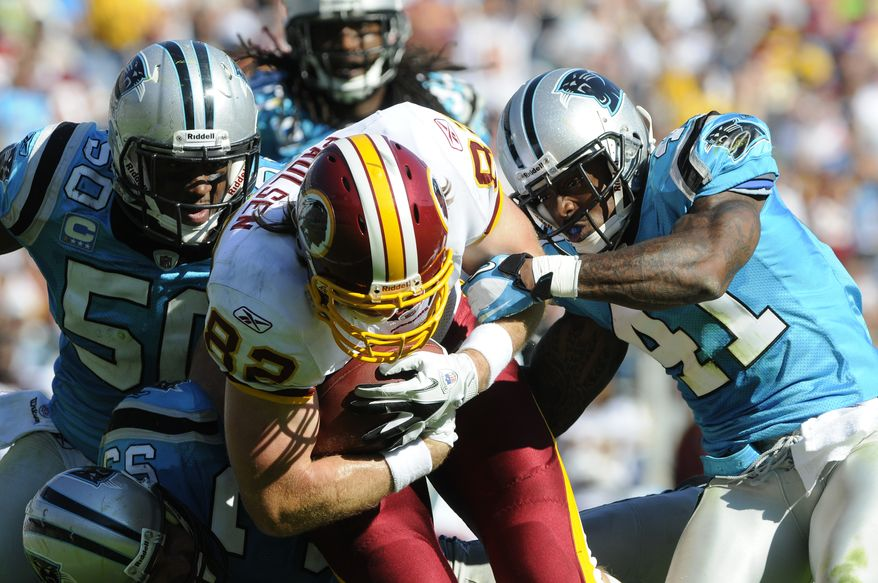 Washington Redskins second-year tight end Logan Paulsen, 24, will be thrust into a more prominent role with Chris Cooley out for the season. Paulsen caught two passes in last week's loss to the Carolina Panthers, totalling 48 yards. (AP Photo/Mike McCarn)